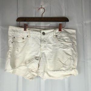 American Eagle raw hem distressed jean shorts